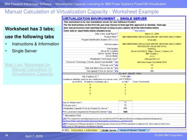 Manual Calculation of Virtualization Capacity - Worksheet Example