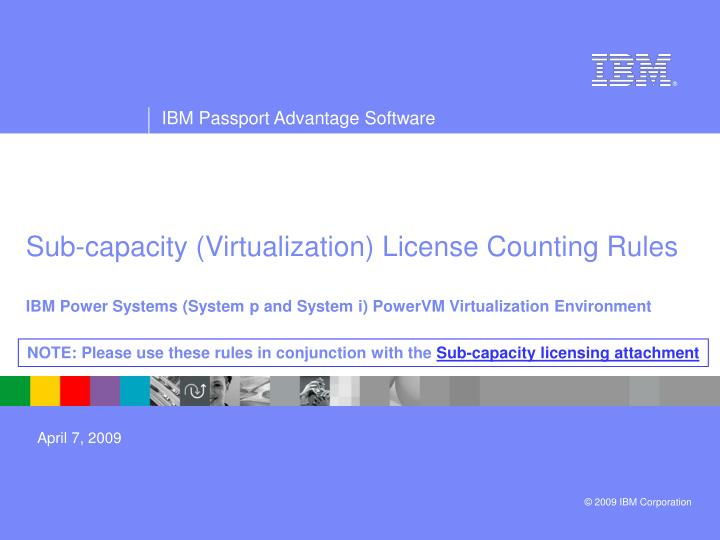 Sub-capacity (Virtualization) License Counting Rules