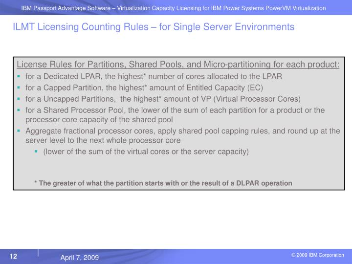 ILMT Licensing Counting Rules – for Single Server Environments