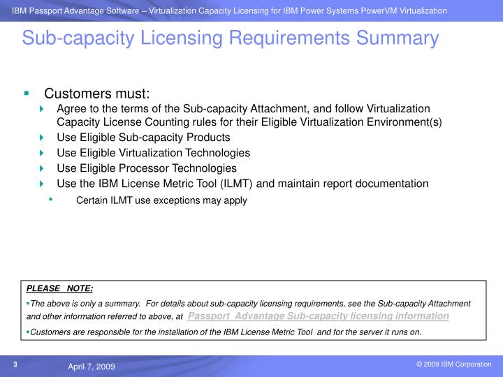 Sub-capacity Licensing Requirements Summary