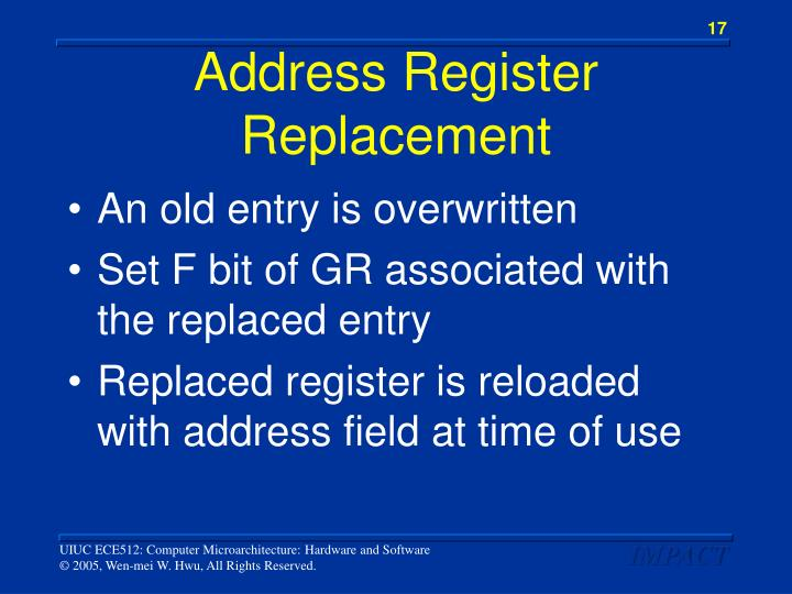 Address Register Replacement