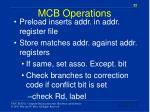 mcb operations