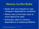 memory conflict buffer