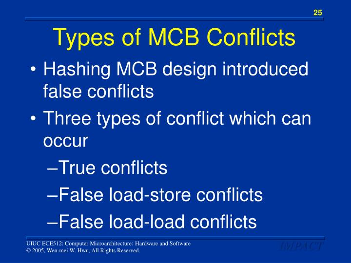 Types of MCB Conflicts