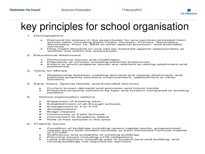 key principles for school organisation