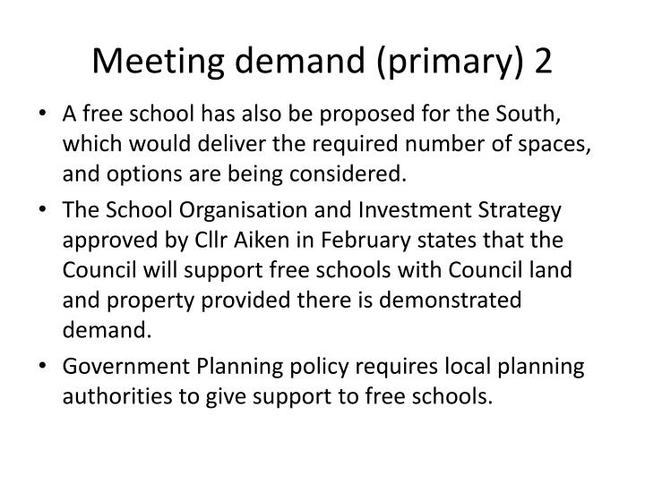 Meeting demand (primary) 2
