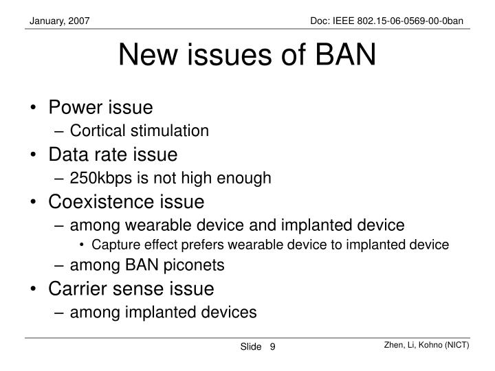 New issues of BAN