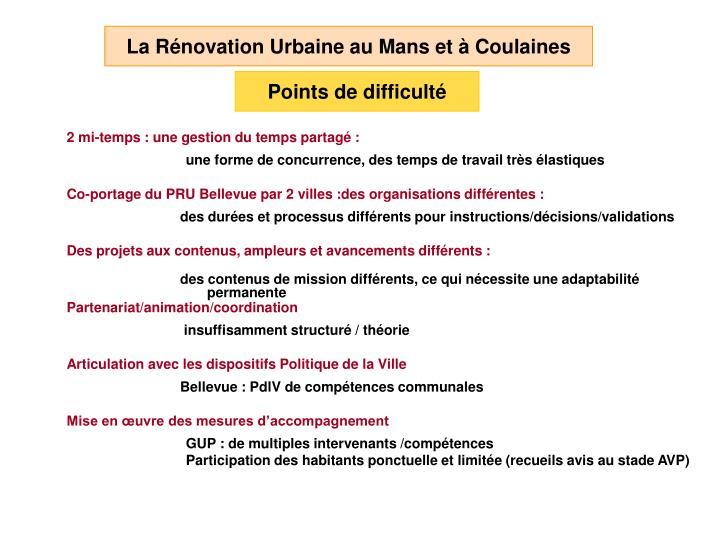 La Rénovation Urbaine au Mans et à Coulaines
