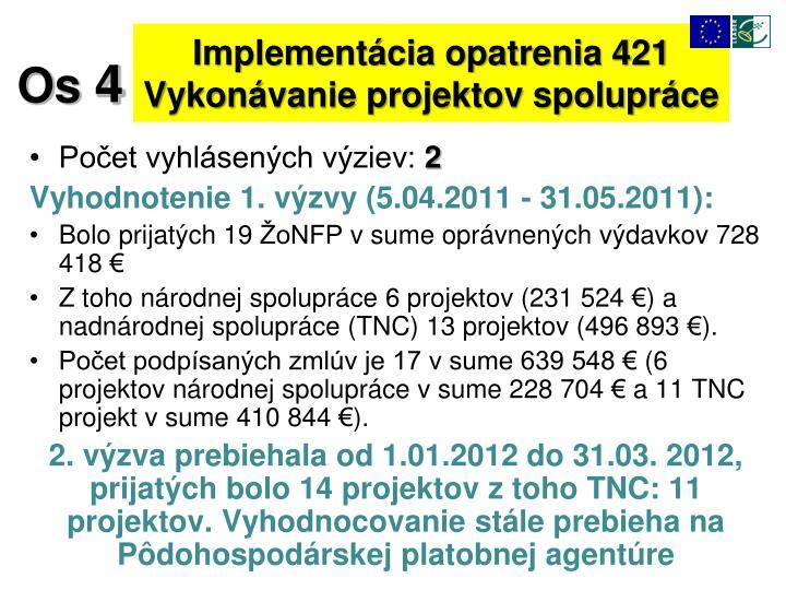 Implementácia opatrenia 421 Vykonávanie projektov spolupráce
