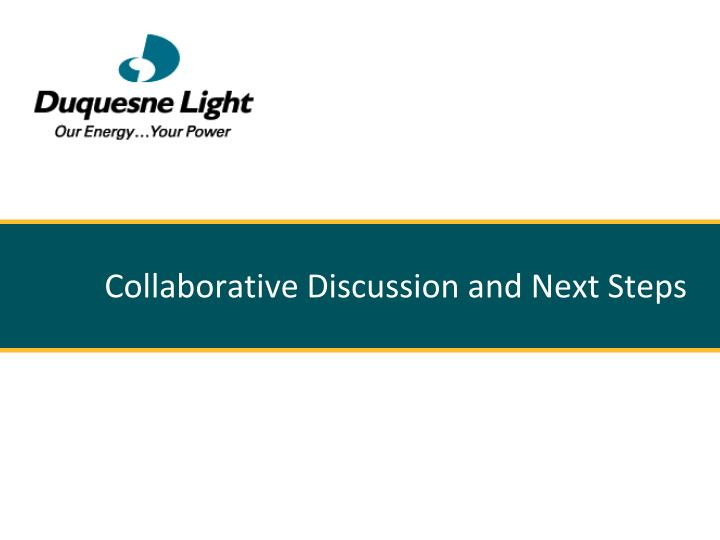 Collaborative Discussion and Next Steps
