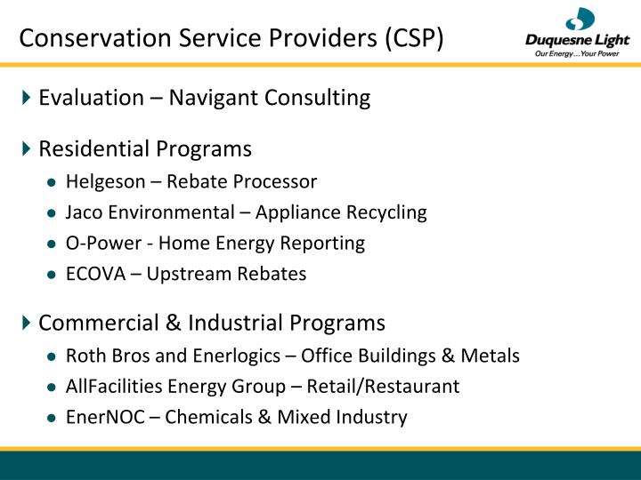 Conservation Service Providers (CSP)