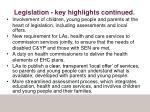 legislation key highlights continued