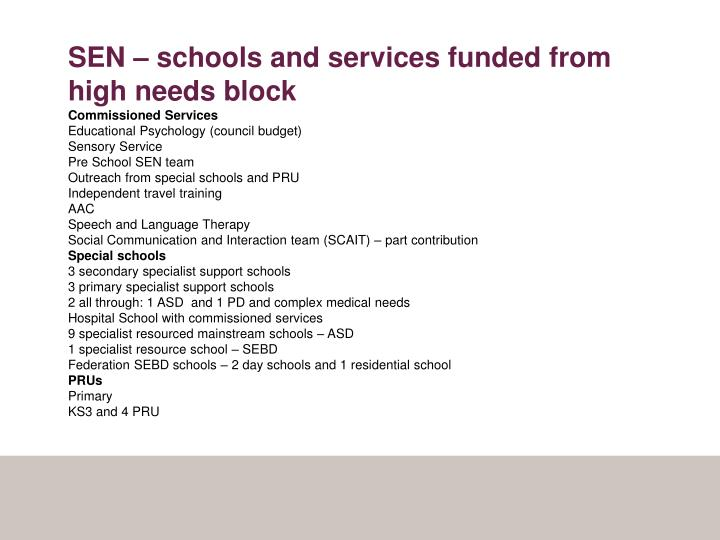 SEN – schools and services funded from high needs block