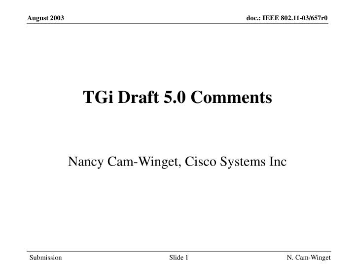 Tgi draft 5 0 comments
