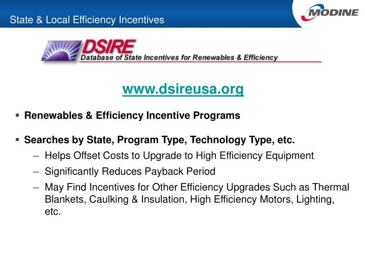 State & Local Efficiency Incentives