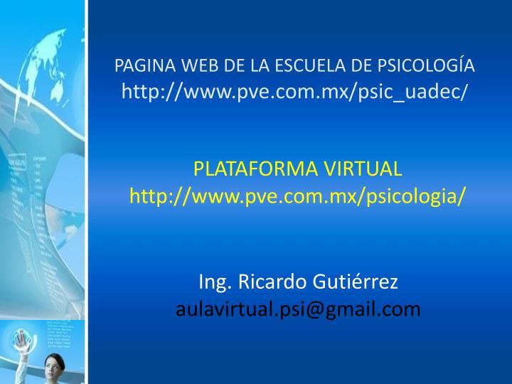 PAGINA WEB DE LA ESCUELA DE PSICOLOGÍA