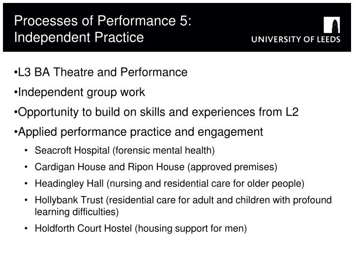 Processes of Performance 5: Independent Practice