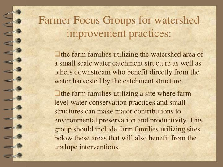 Farmer Focus Groups for watershed improvement practices: