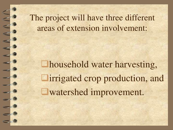 The project will have three different areas of extension involvement: