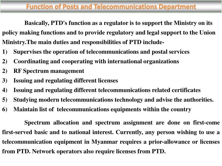 Function of Posts and Telecommunications Department