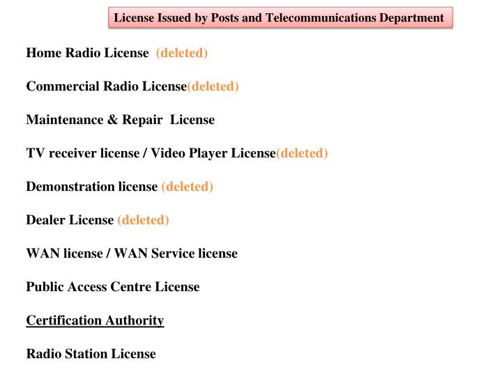 License Issued by Posts and Telecommunications Department
