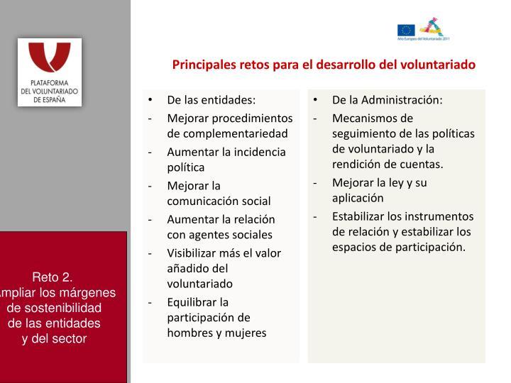 Principales retos para el desarrollo del voluntariado