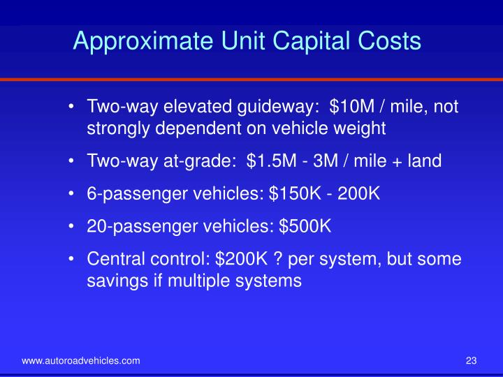 Approximate Unit Capital Costs