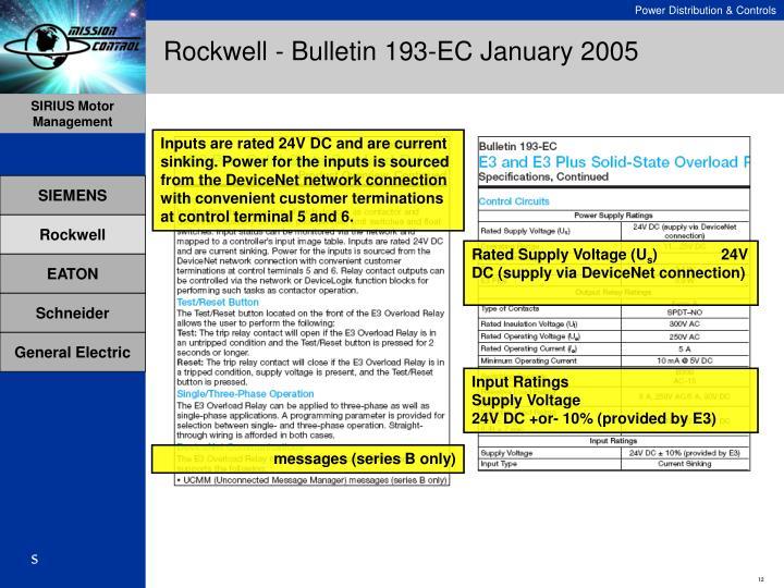 Rockwell - Bulletin 193-EC January 2005