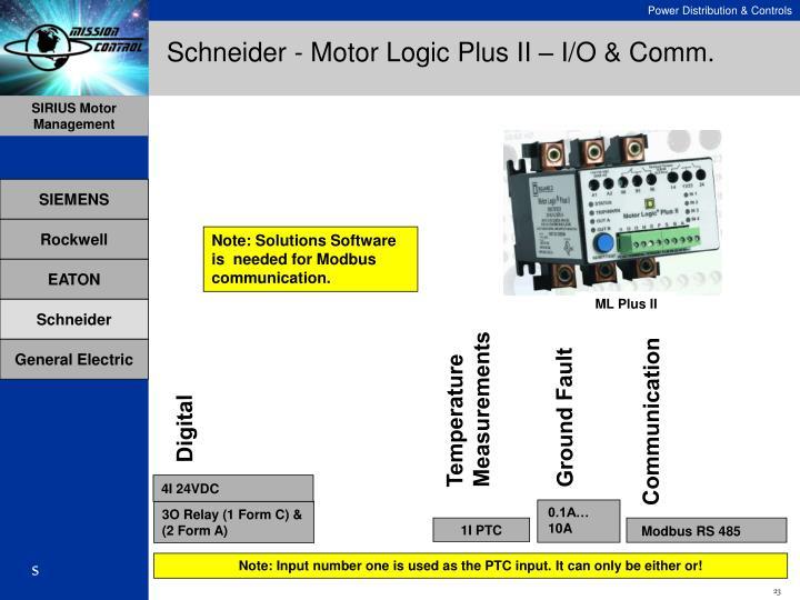 Schneider - Motor Logic Plus II – I/O & Comm.