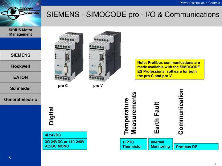 SIEMENS - SIMOCODE pro - I/O & Communications