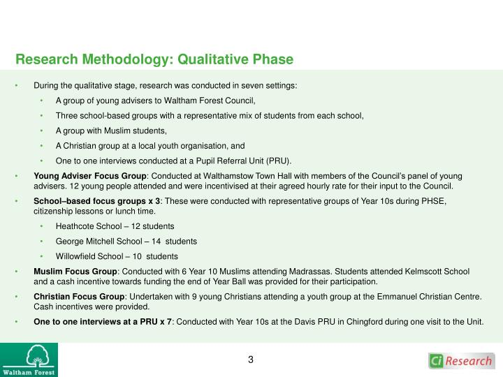 Research Methodology: Qualitative Phase