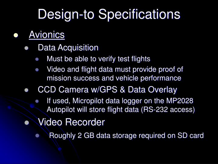 Design-to Specifications