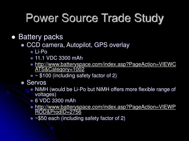 Power Source Trade Study