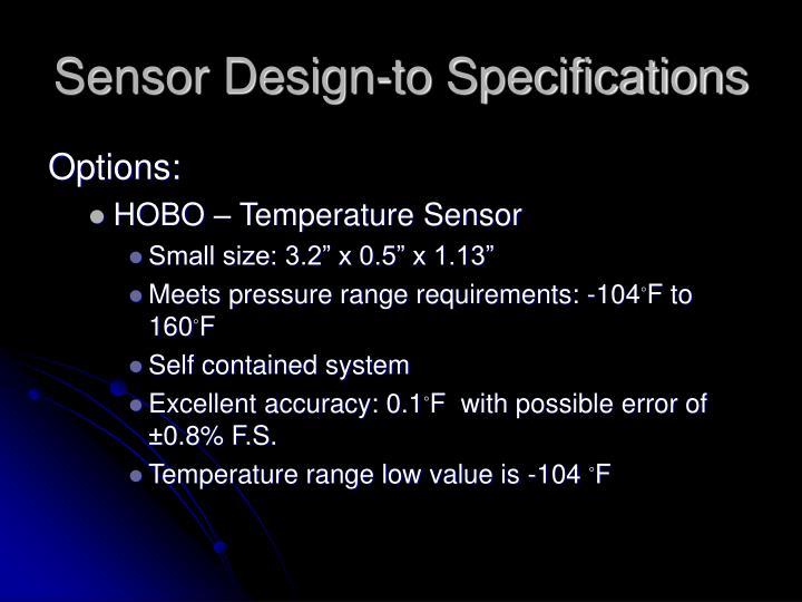 Sensor Design-to Specifications