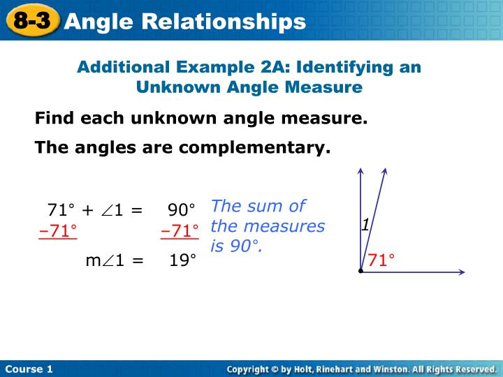 Additional Example 2A: Identifying an Unknown Angle Measure