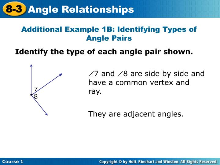 Additional Example 1B: Identifying Types of Angle Pairs