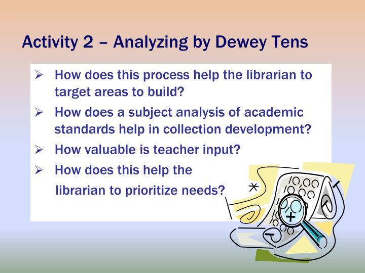 Activity 2 – Analyzing by Dewey Tens