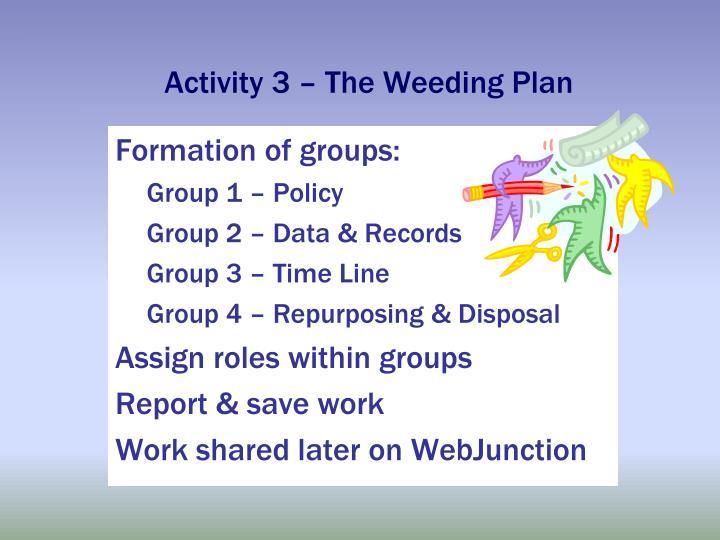 Activity 3 – The Weeding Plan