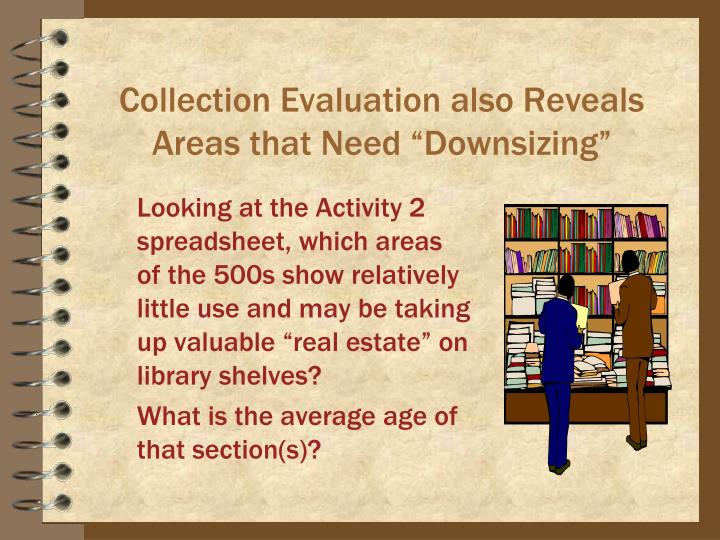 """Collection Evaluation also Reveals Areas that Need """"Downsizing"""""""