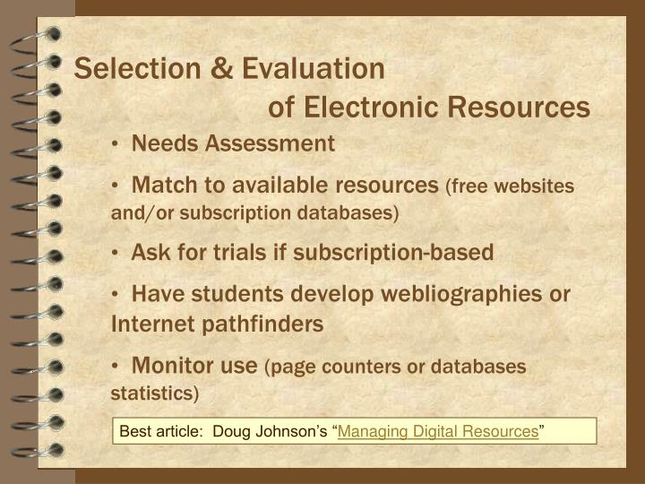 Selection & Evaluation