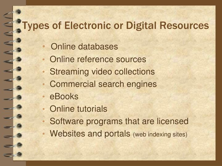 Types of Electronic or Digital Resources
