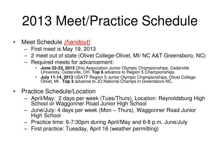 2013 Meet/Practice Schedule
