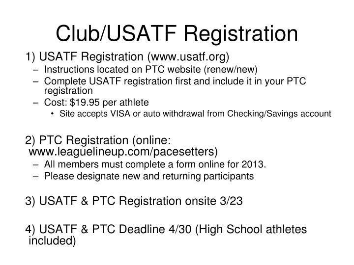 Club/USATF Registration