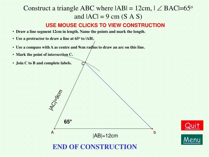 Construct a triangle ABC where |AB| = 12cm, |