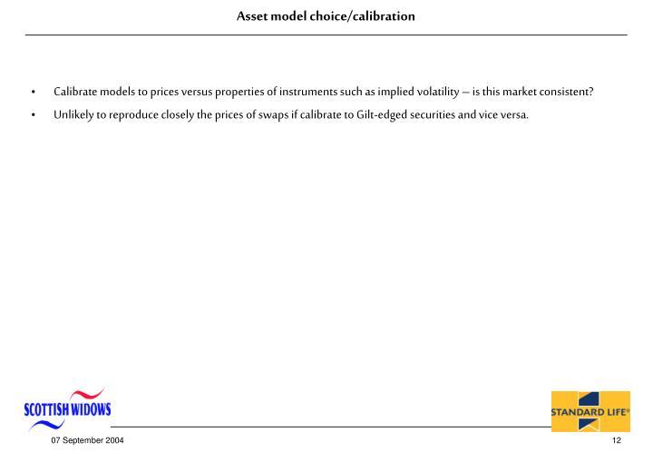 Asset model choice/calibration