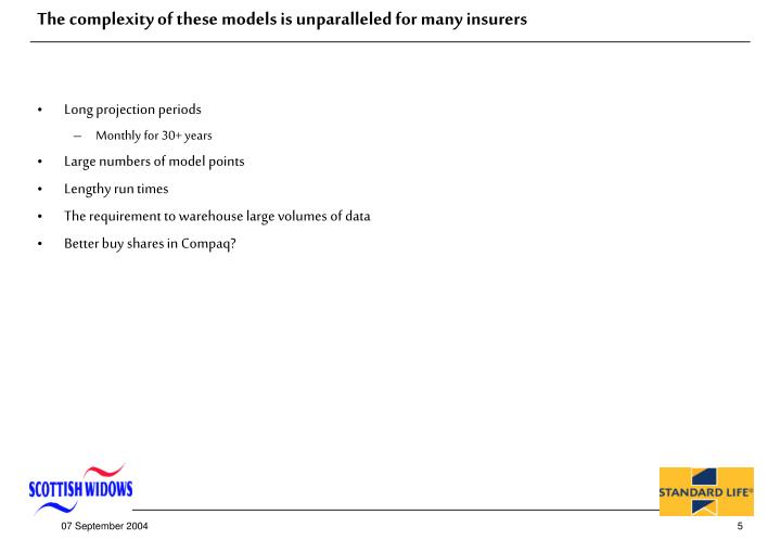 The complexity of these models is unparalleled for many insurers
