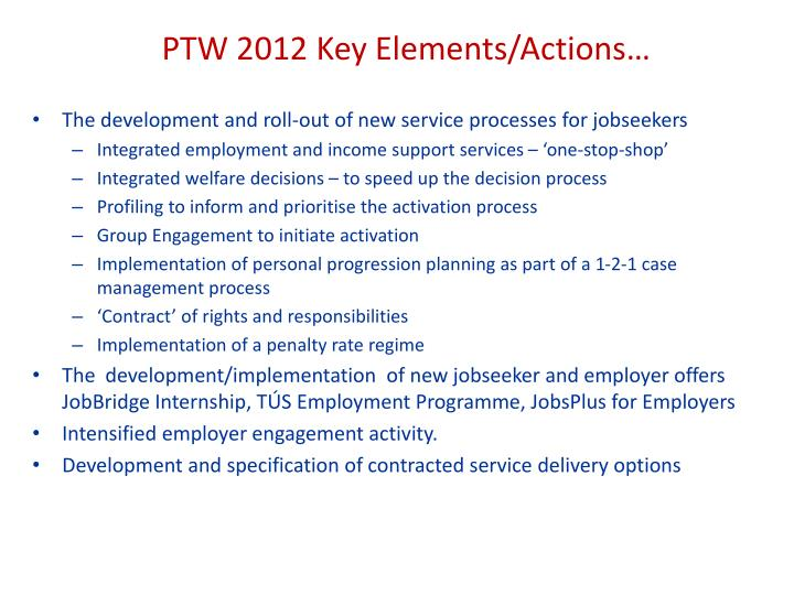 PTW 2012 Key Elements/Actions…