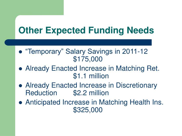 Other Expected Funding Needs