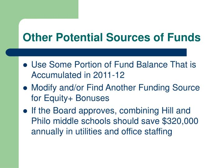 Other Potential Sources of Funds