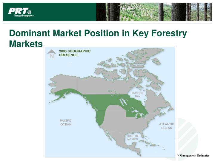 Dominant Market Position in Key Forestry Markets
